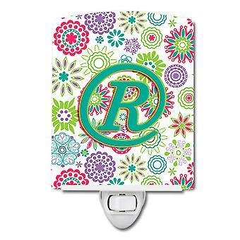 Буква R цветы розовые Тил зеленый первоначального керамические ночной свет