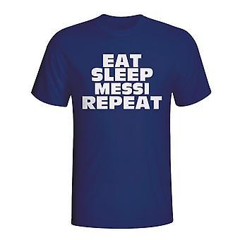 Jedzte spánok Messi opakovať T-shirt (Navy)-deti