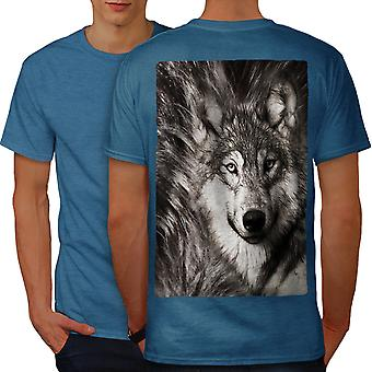 Lonely Wolf Face Men Royal BlueT-shirt Back | Wellcoda