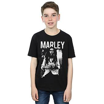 Bob Marley Boys Black And White Photograph T-Shirt