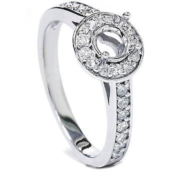 1 / 3ct Halo алмаз обручальное кольцо параметр 14K Белое золото полу Маунт