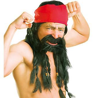 Roger satt parykk skjegg svart flettene