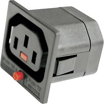 IEC connector Socket, verticale verticale totale aantal pins: 2 + PE 10 A Black Kash 1 PC('s)