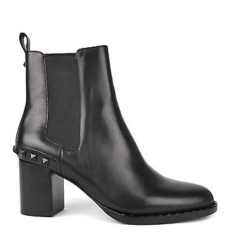 Ash Footwear Vertigo Black Leather Studded Heeled Boot