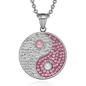 Yin Yang Magic Balance Amulett österreichische Kristalle Pink und White Cats Eye Anhänger 18 Zoll Halskette