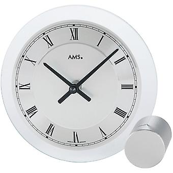 AMS table clock quartz watch silver painted metal base mineral crystal quartz desk clock