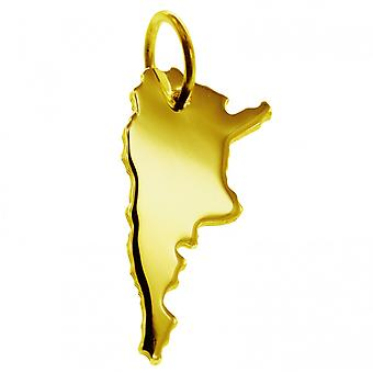 Trailer map Argentina pendants in massive 585 yellow gold