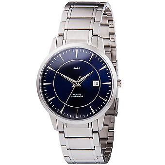 JOBO men's wristwatch quartz analog stainless steel date Watch Blue