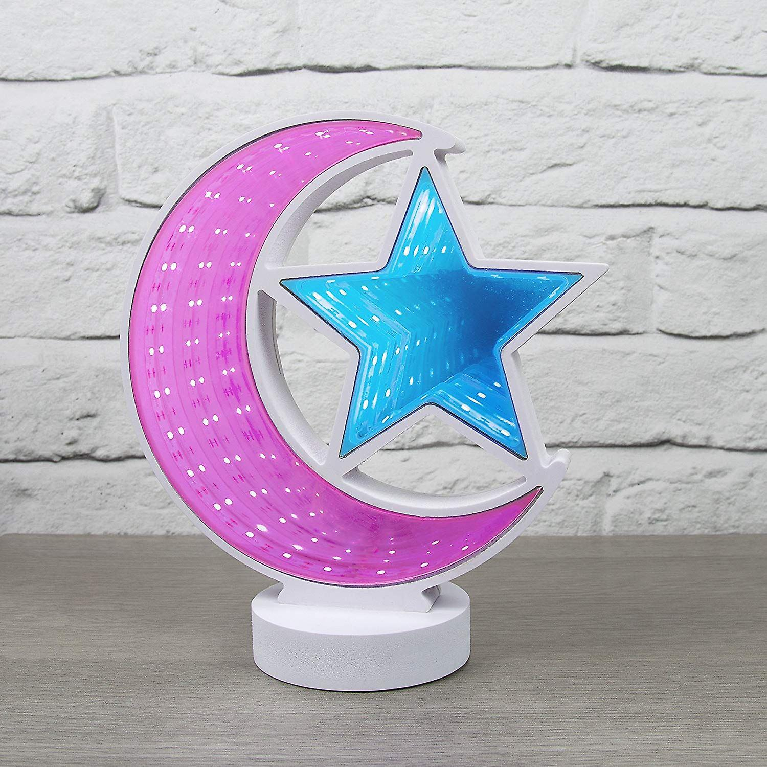 Global Gizmos Moon & Star Infinity Mirror Light Mood Tunnel Light with Pink & Blue LED's