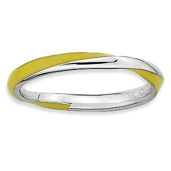 925 Sterling Argent Poli Rhodium plaqué Twisted Yellow Enameled 2.5 x 2.25mm Stackable Ring Jewelry Gifts for Women