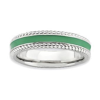 4,5mm 925 Sterling Hopea Pinottavat ilmeet Kiillotettu vihreä emaloitu rengas korut Lahjat naisille - Rengas Koko: 5-9