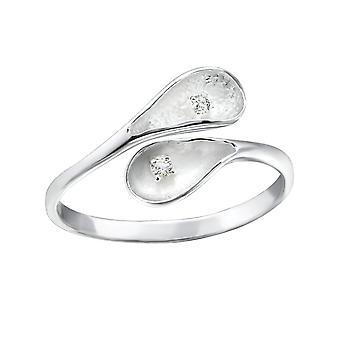 Leaf - 925 Sterling Silver Cubic Zirconia Rings - W22805x