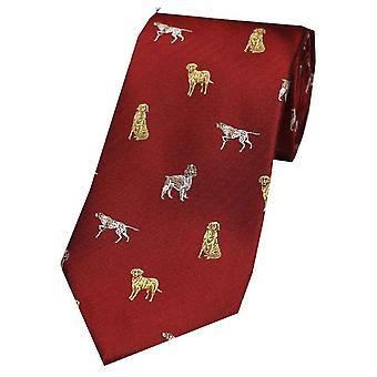 David Van Hagen koirat maan silkki solmio - punainen