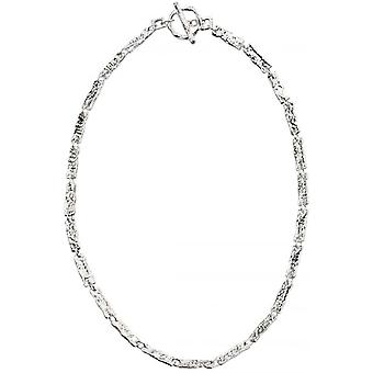 Beginnings Hammered Rectangle Link T Bar Necklace - Silver