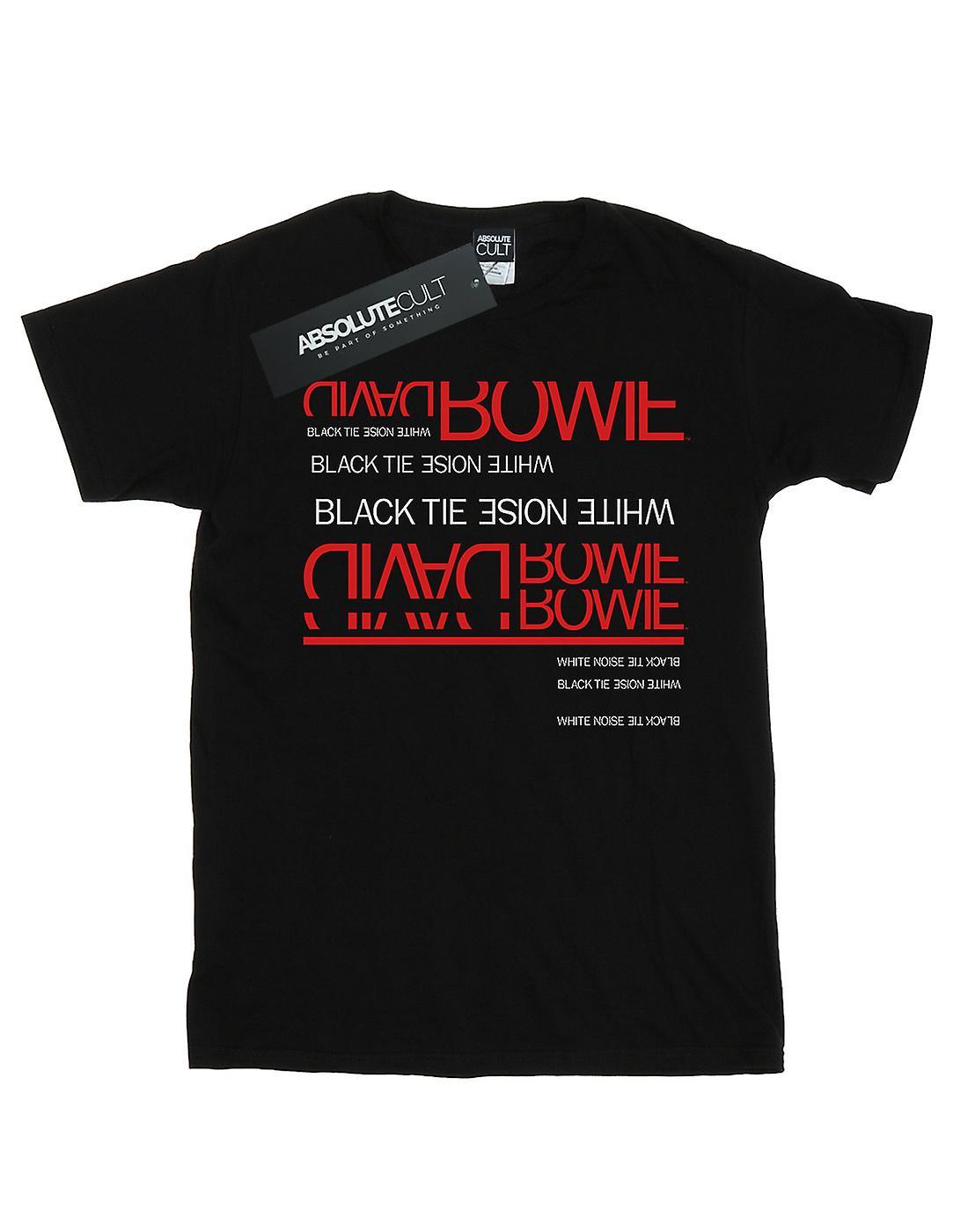 David Bowie Women's Black Tie White Noise Boyfriend Fit T-Shirt