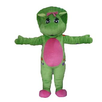 SPOTSOUND of green and pink, giant dinosaur mascot