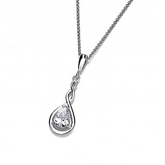 """Cavendish French Silver and Cubic Zirconia Celtic Twist Pendant with 16-18"""" Chain"""