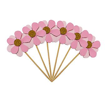 6PC Flicker Flower Petal Cake Toppers Pink