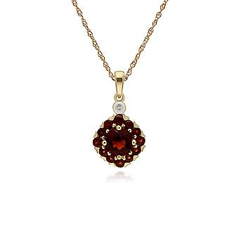 Cluster Round Garnet & Diamond Pendant Necklace in 9ct Yellow Gold 135P1911069