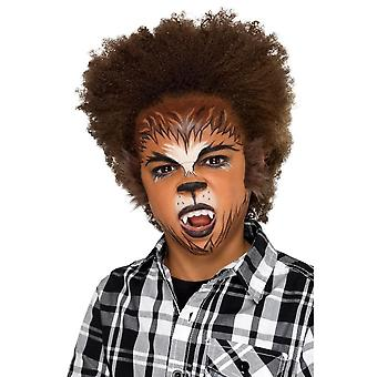 Kids Halloween Werewolf Facepaint Kit, with Fangs/Fur/Stickers/Sponge/Brush