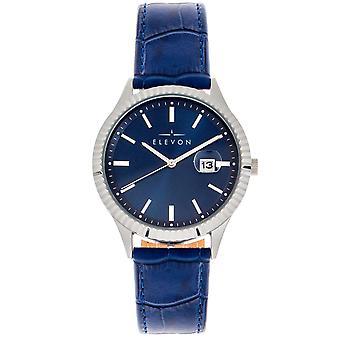 Elevon Concorde läder-band Watch w/datum-silver/blå