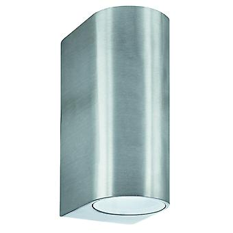 Cilindro d'argento Dual LED lampada parete esterna - Searchlight 8008-2SS-LED