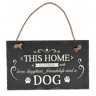 Bless This Home With A Dog Slate Plaque