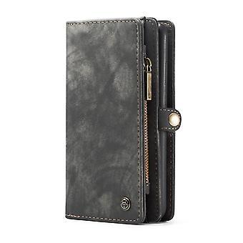 OnePlus 7 Pro CASEME retro nahka lompakko kotelo harmaa