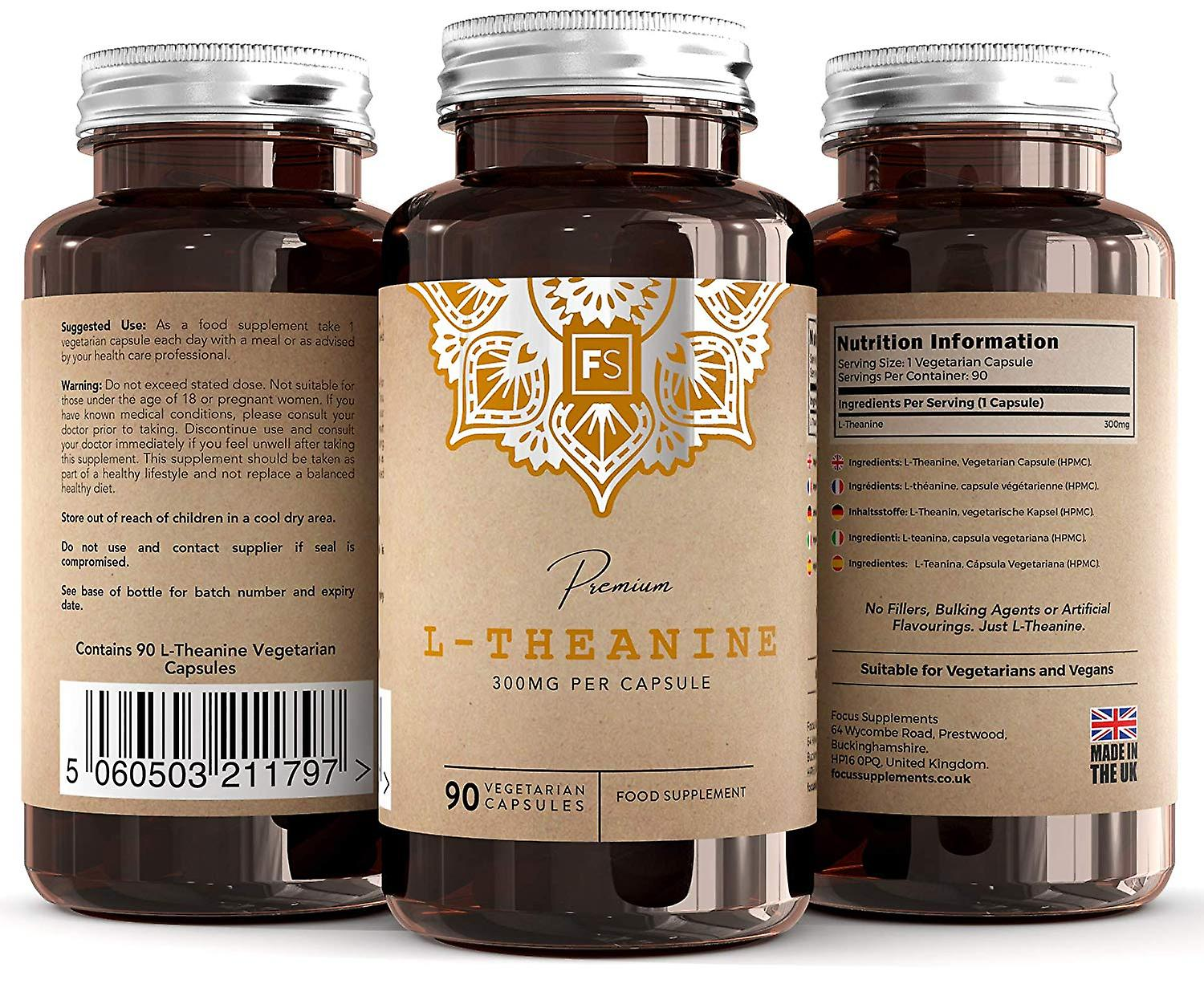 L-Theanine (300mg) 90 Capsules (No Fillers)