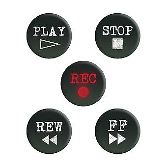 Grindstore Retro Cassette Buttons Badge Pack