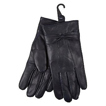 Guantes de las señoras zalea suave cuero elegante flexible forrados con paño grueso y suave caliente