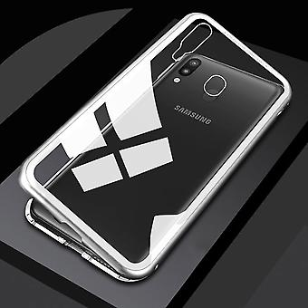 För Samsung Galaxy A20e A202F magnet/metal/glas Case stötfångare silver/transparent case fall ny