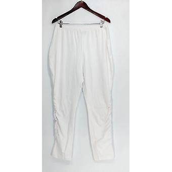 Vrouwen met controle broek pull-on slanke poot met Ruched kant wit A301359