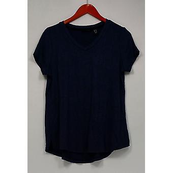 H de Halston Top Super Soft Knit camiseta de manga corta azul A293994