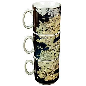 Game of Thrones Stacked Westeros Map Mug Set