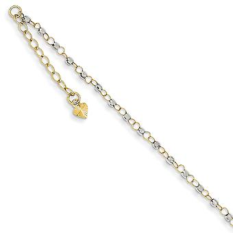 14k Two Tone Beaded Polished Spring Ring Sparkle Cut Gold Circle Chain With Mirror Beads W/ 1in Ext Anklet 9 Inch Jewelr
