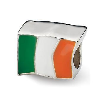 925 Sterling Silver Enamel Polished Antique finish Reflections Ireland Flag Bead Charm