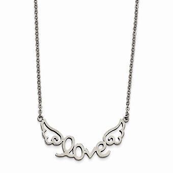 Roestvrij staal gepolijst liefde met Angel Wings Ketting 17 Inch Sieraden Geschenken voor vrouwen