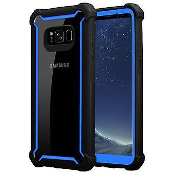 Cadorabo Case för Samsung Galaxy S8 Case Cover-2-i-1 telefon väska med TPU silikonkant och akrylglas tillbaka-skyddande fodral hybrid hardcase tillbaka Case