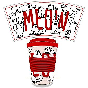 Simon's Cat travel mug Simon's Cat white/red, printed, 100% bamboo fiber/silicone, capacity approx. 400 ml.