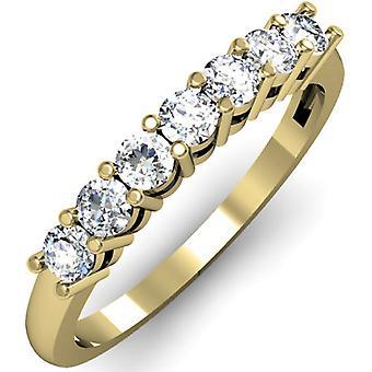 Dazzlingrock Collection 0,50 Carat (ctw) 10K Round White Diamond Ladies 7 stein brude bryllup band jubileum ring 1/2 CT, gult gull