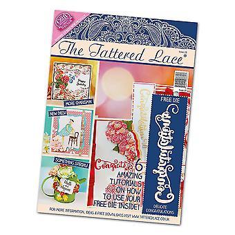 La dentelle lambeaux Craft magazine numéro 23 + gratuit Félicitations texte Die