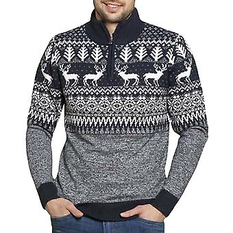 Duke D555 Hommes Jimmy Long Sleeve 1/4 Zip Festive Christmas Jumper Sweater - Marine
