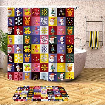 Colorful Christmas Checkers Shower Curtain