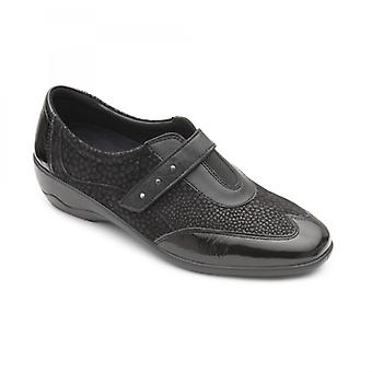 Padders Topaz Ladies Leather Wide (e/2e) Shoes Black