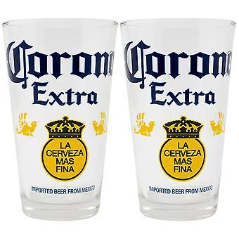 Corona Extra Color Block 2-Piece Pub Pint Glass Set