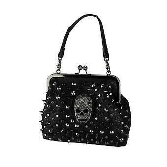 Black Embossed PU Leather Rhinestone Skull Studded Purse with 2 Removable Straps