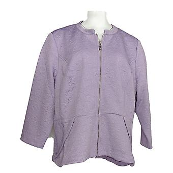 Isaac Mizrahi Live! Women's Jacket 3/4 Sleeve Petal Peplum Purple A292079