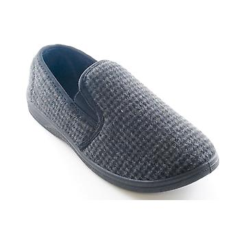 Tom Franks Mens Tweed Check Fleece Lined Closed Slippers