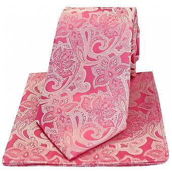 David Van Hagen Edwardian Floral Silk Tie and Hanky Set - Pink